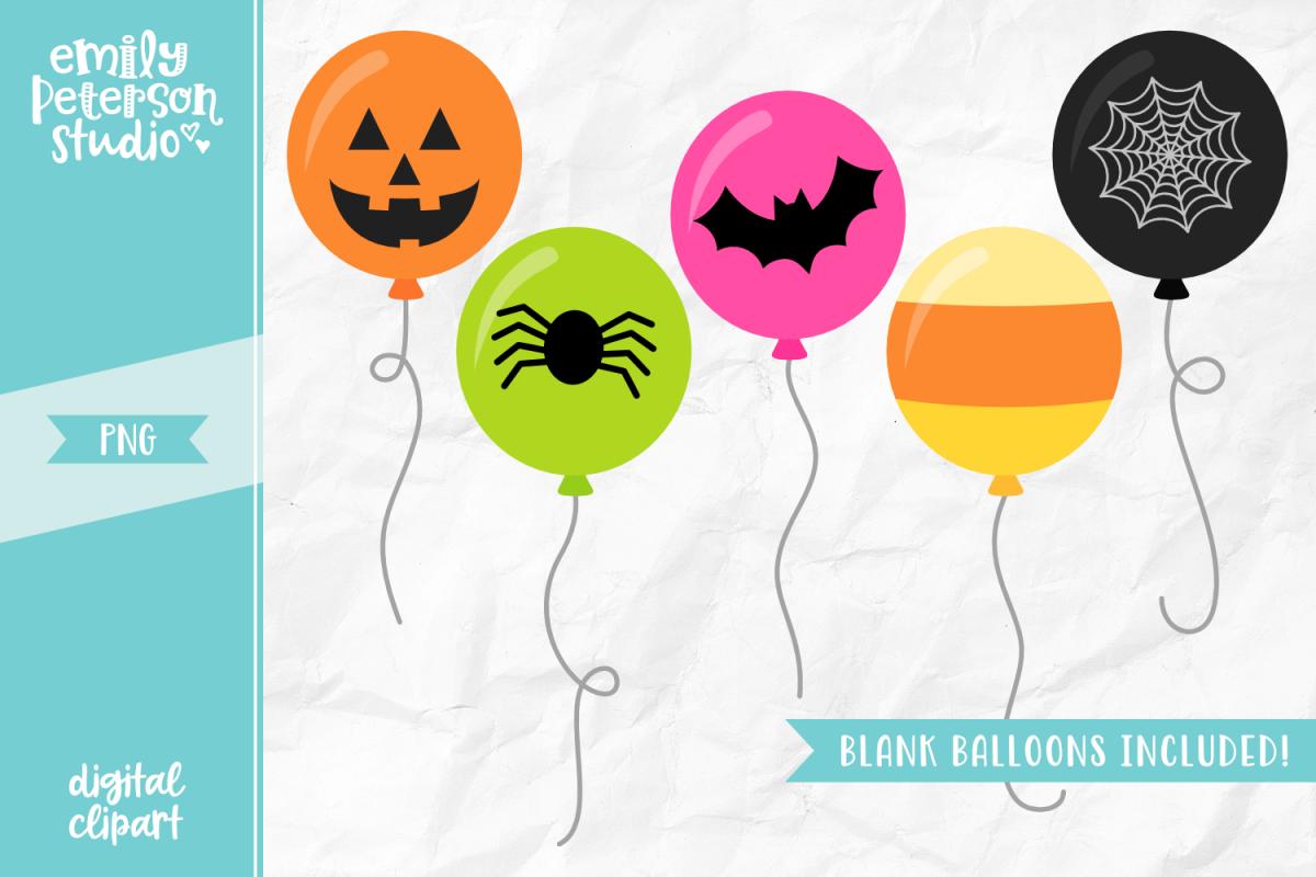 Halloween Balloons Clipart Illustration PNG.