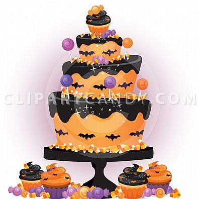 Cartoon Image of a Halloween Cake and Candy Buffet for Party.
