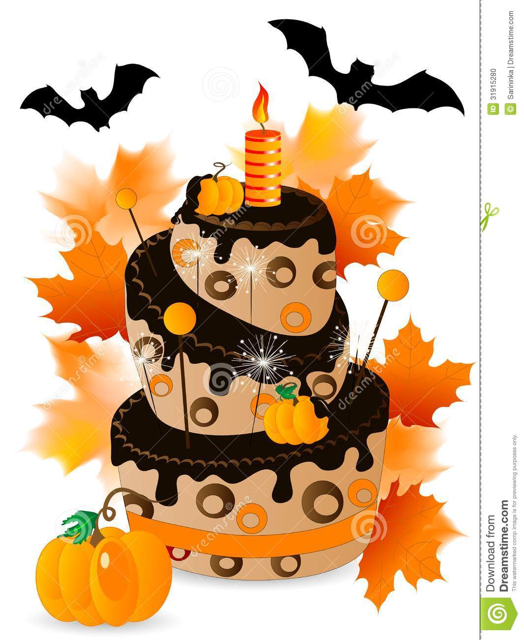 Halloween Birthday Cake Clipart.