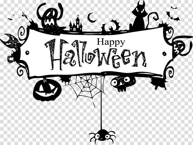 White and black Happy Halloween illustration, Halloween.