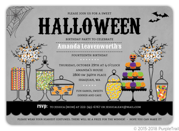 Sweet Candly Station Halloween Birthday Party Invitation.