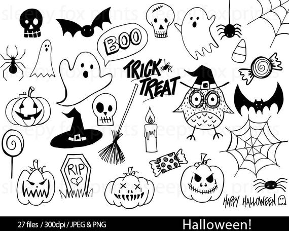 Halloween Black and White Clip Art, Clipart, Spooky, Ghosts, Spider Web,  Candy, Pumpkin, Skulls, Bats, Trick Or Treat, Boo, Hand Drawn.