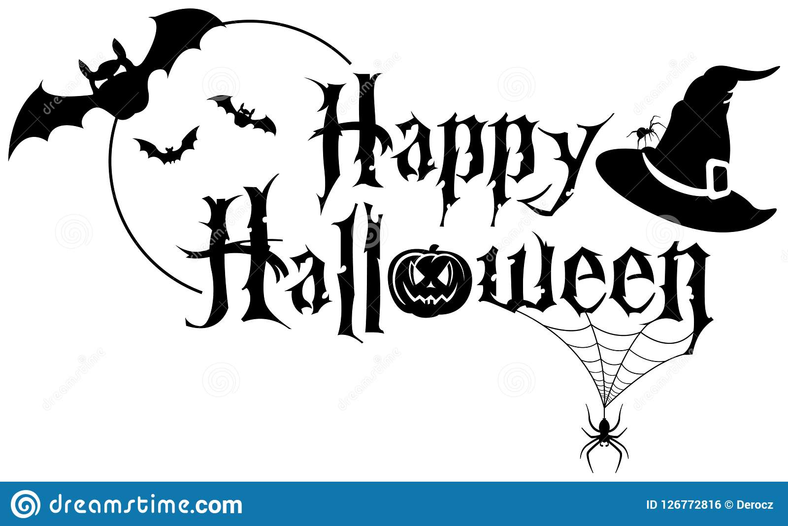 Happy Halloween Text Banner Stock Vector.
