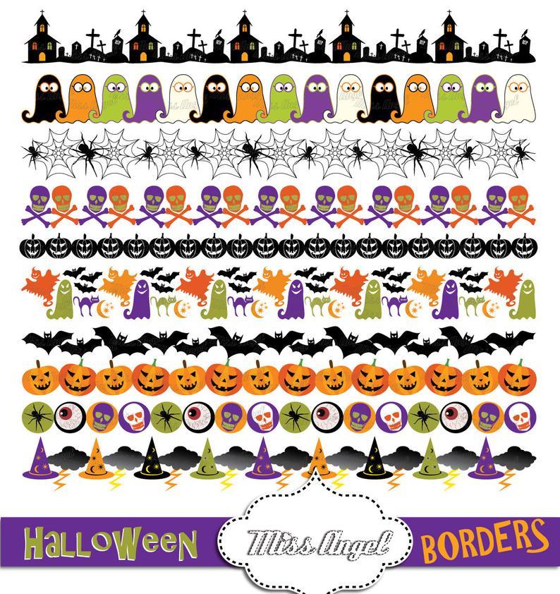Cute Halloween Borders Clipart, Halloween digital ribbons, Bunting Banners.  Pumpkin, skull, spider web, ghost. Orange, Black, Purple, Green.