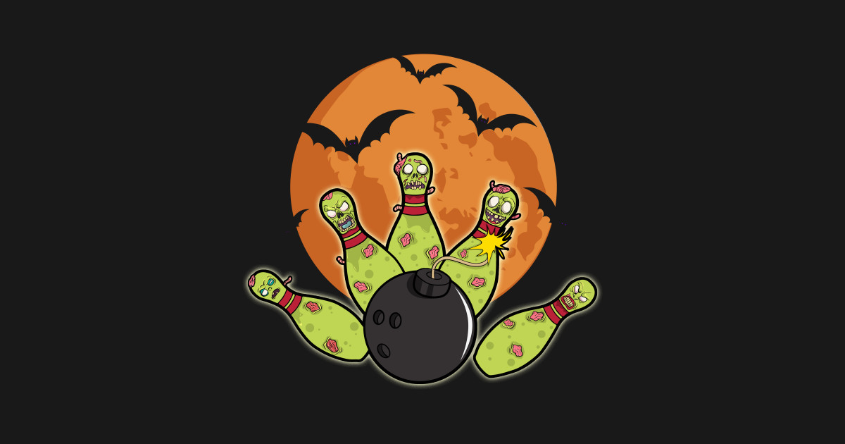 Halloween Bowling Zombie Pins Bats Bowler Gift by dr_squirrel.