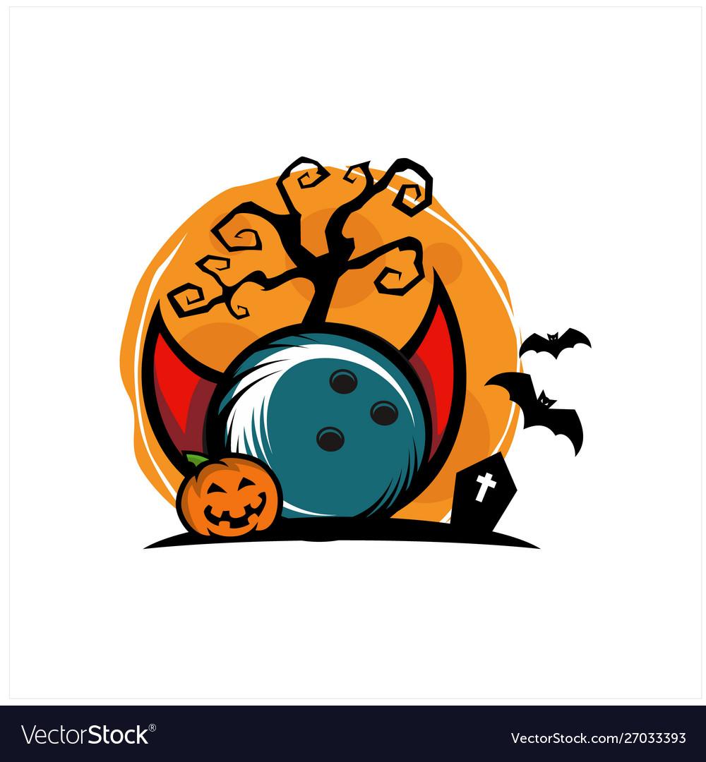 Bowling halloween theme logo.