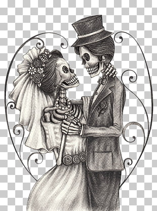 Calavera Day of the Dead Bridegroom Drawing, Skeleton Bride.
