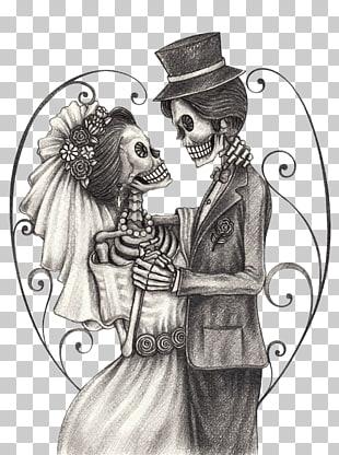 Calavera Day of the Dead Bridegroom Drawing, Skeleton Bride.