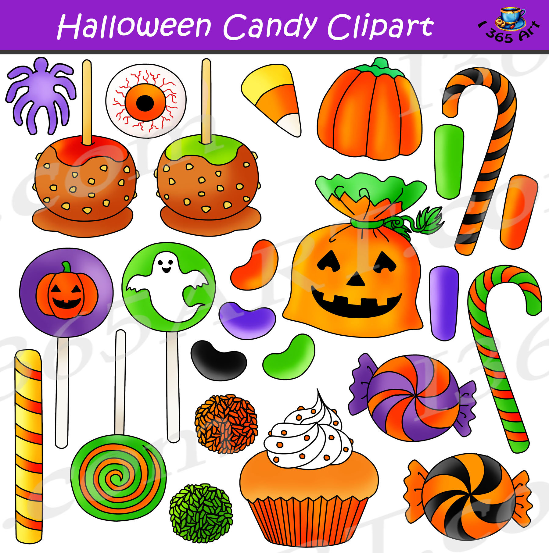 Halloween Candy Clipart Graphics Bundle.