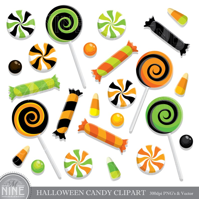 HALLOWEEN CANDY Clip Art / Halloween CANDY Clipart Downloads / Candy Theme  Party, Candy Scrapbook Clipart, Vector Candy, Clipart Download.