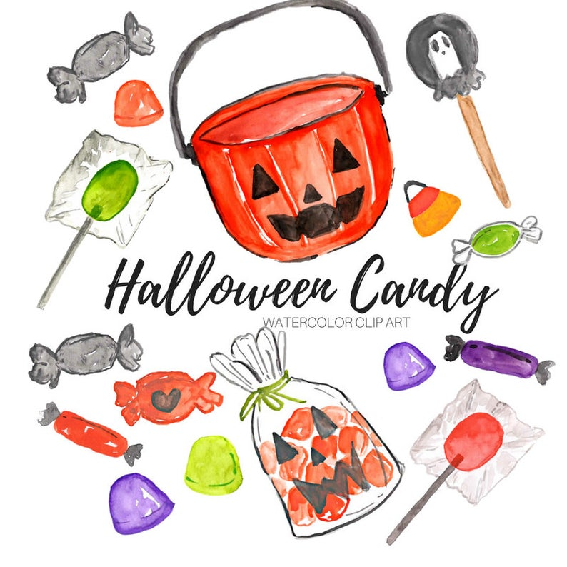 Halloween candy clipart, trick or treater, fall sweets, food, candy corn  lollipops,commercial use.