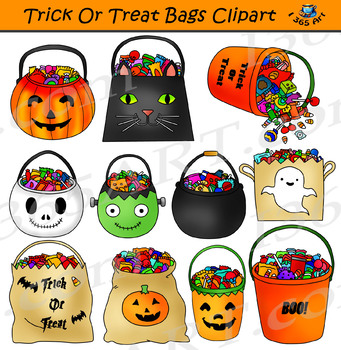 Trick Or Treat Bags Clipart Halloween Candy.