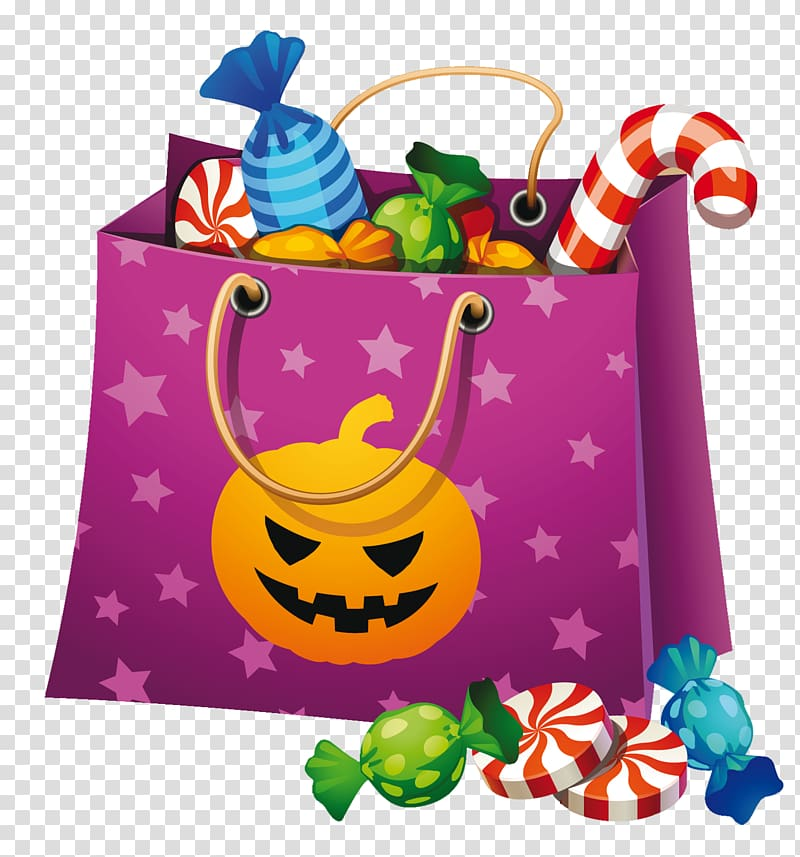 Purple paper bag with candy , Halloween Candy corn.
