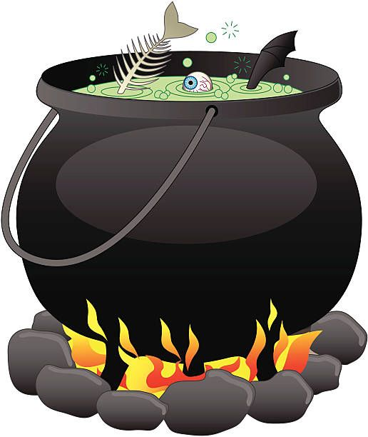 Illustration of a witch\'s cauldron in 2019.