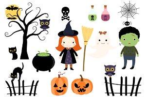 Halloween Kids in Costumes Clipart.