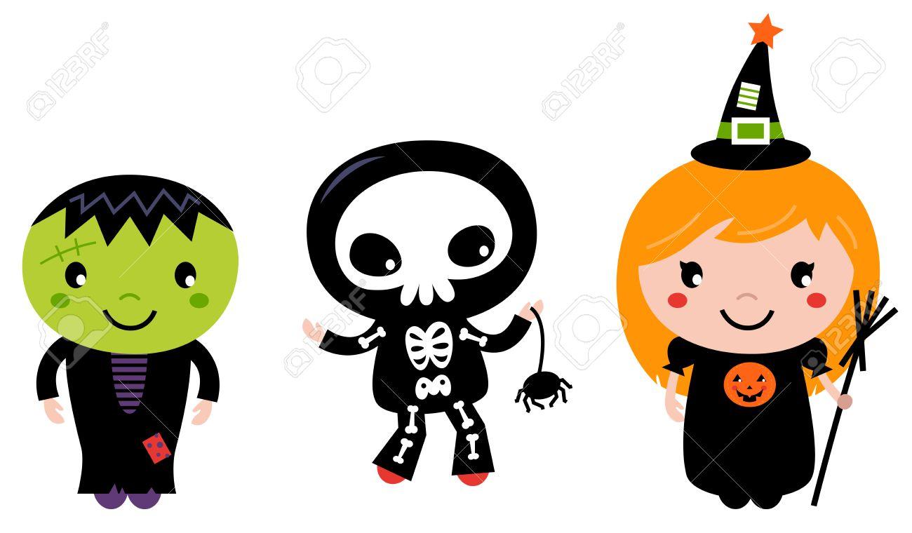Happy Kids in Halloween costumes Vector cartoon Illustration.
