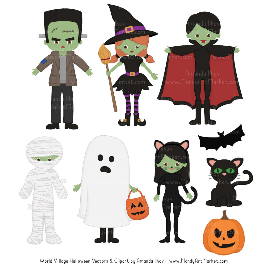 Spooky Halloween Characters Clipart.