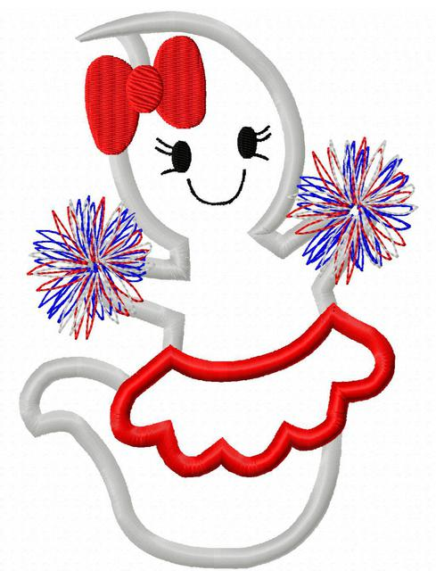 School Spirit Ghost girl appliqué embroidery design.