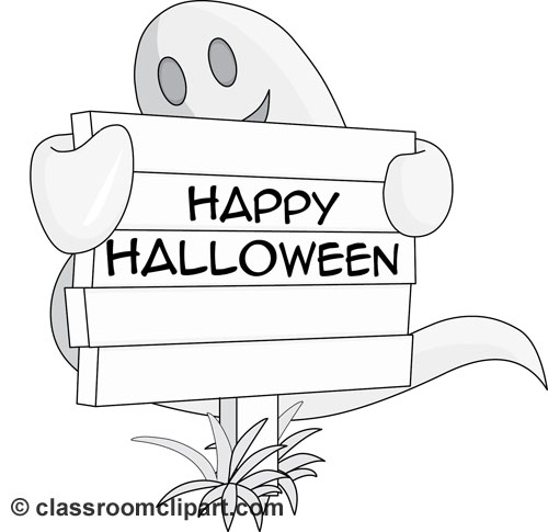 Halloween : ghost_holding_halloween_sign_gray_01 : Classroom Clipart.
