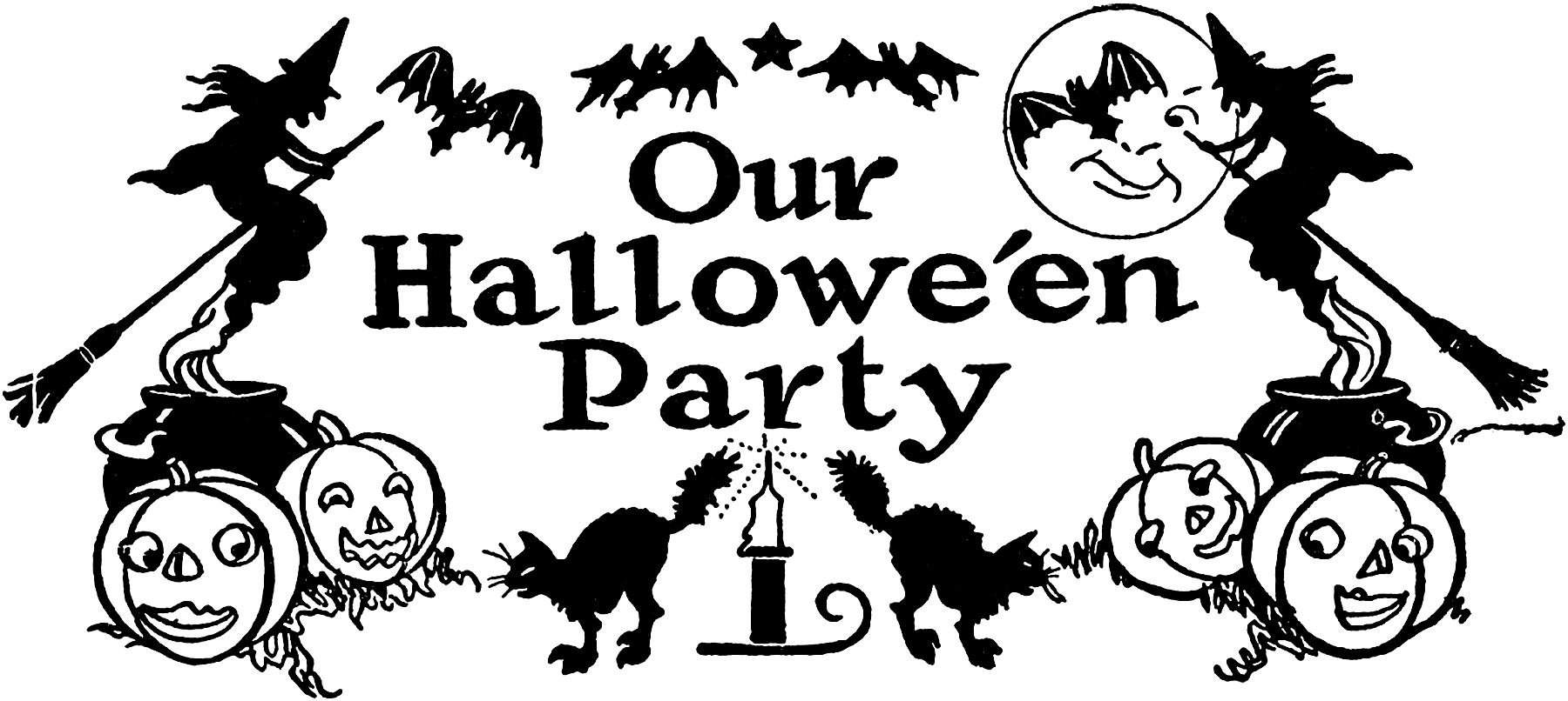 Nostalgic Black and White Halloween Party Clip Art!.