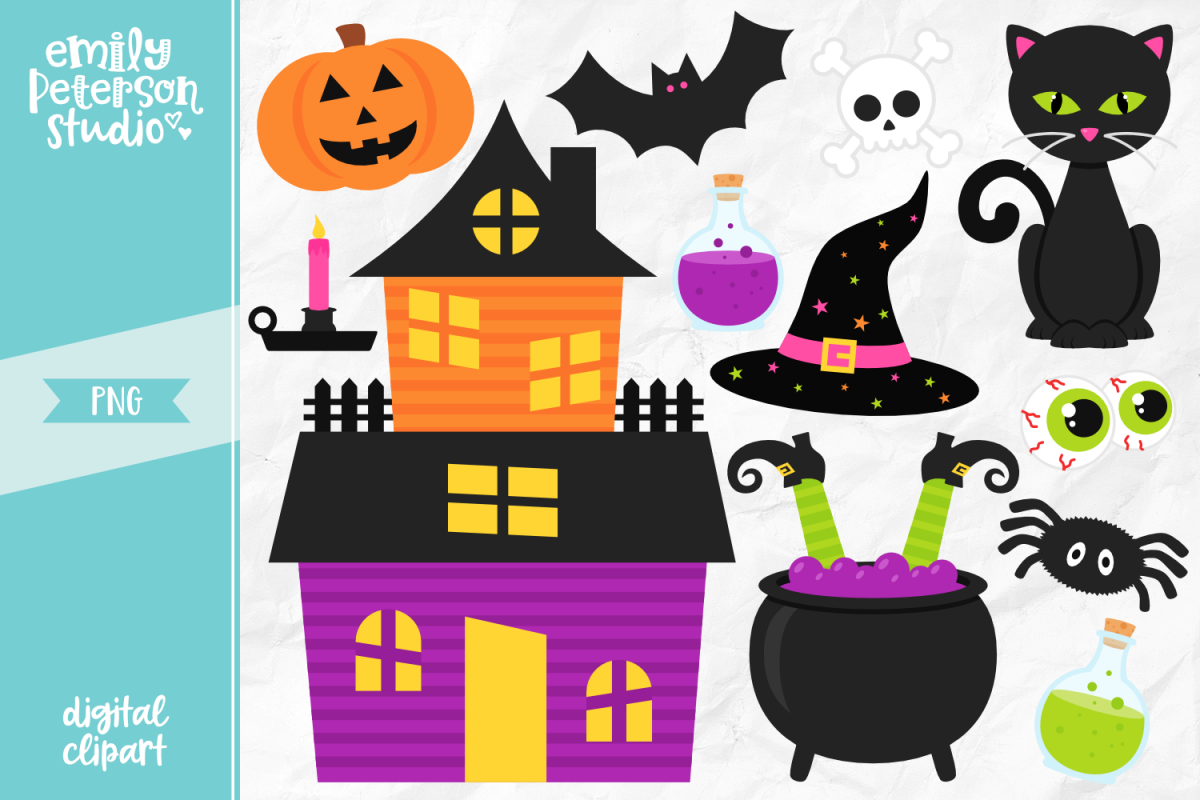 Happy Halloween Clipart Illustration PNG.