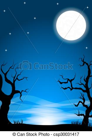 Vector Clip Art of eerie halloween night background with a full.