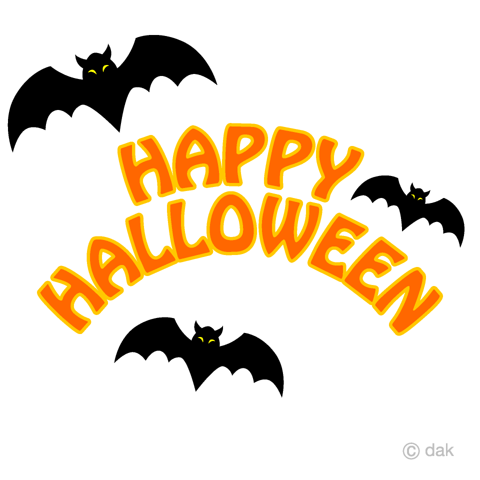 Free Bats Happy Halloween Clipart Image|Illustoon.