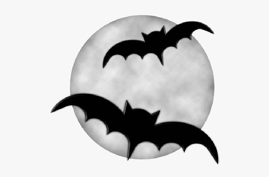 Moon With Bats Halloween Clipart.