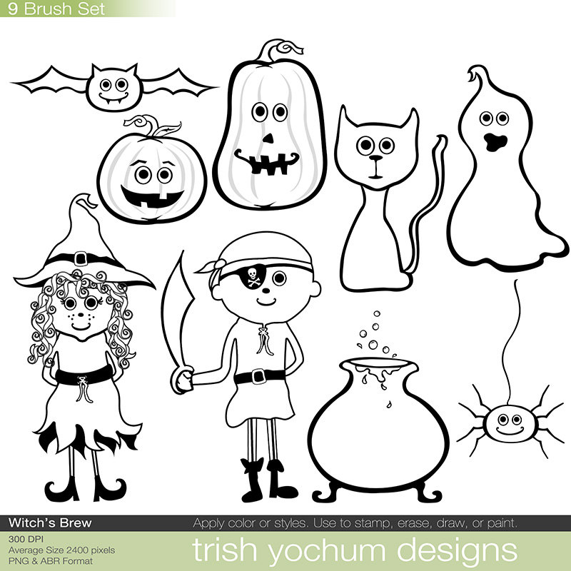 Halloween ClipArt Photoshop Brushes Png by TrishYochumDesigns.