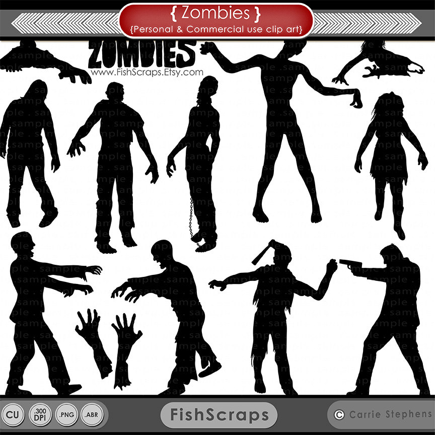 Zombie Silhouettes Halloween ClipArt Zombie Clip Art by FishScraps.