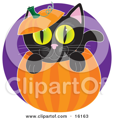 Clipart Illustration of a Cute Gray Mouse Wearing A Witch's Hat.