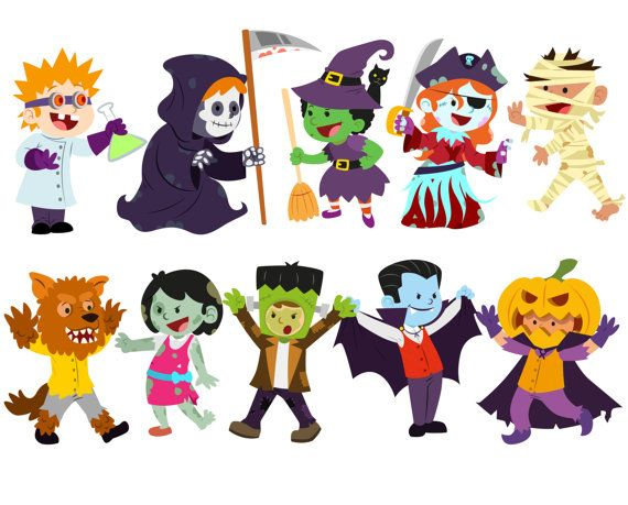 Halloween clipart, Costume clipart, Halloween kids clipart.