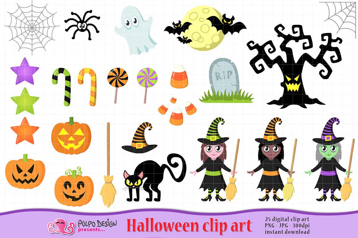Cute Halloween clipart By Polpo Design.