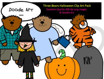 Three Bears Halloween Clip Art Pack.
