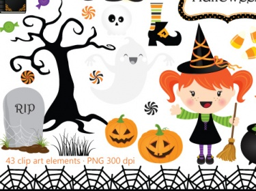 Happy Halloween clip art and digital paper pack.