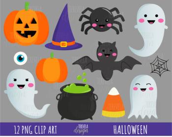 HALLOWEEN clipart, cute halloween clipart, bat, ghost, spider.