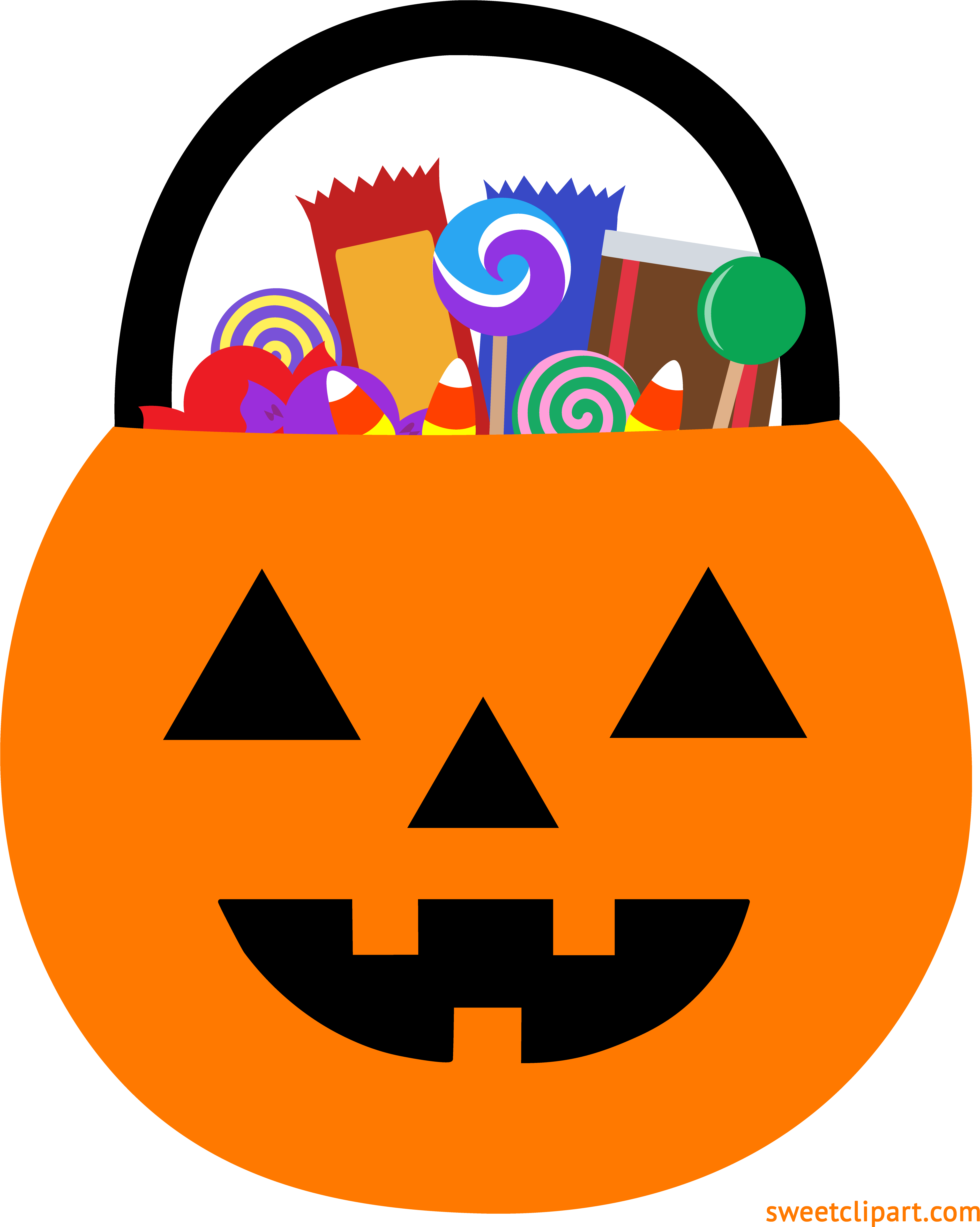 HD Halloween Pumpkin Pail With Candy Clipart.