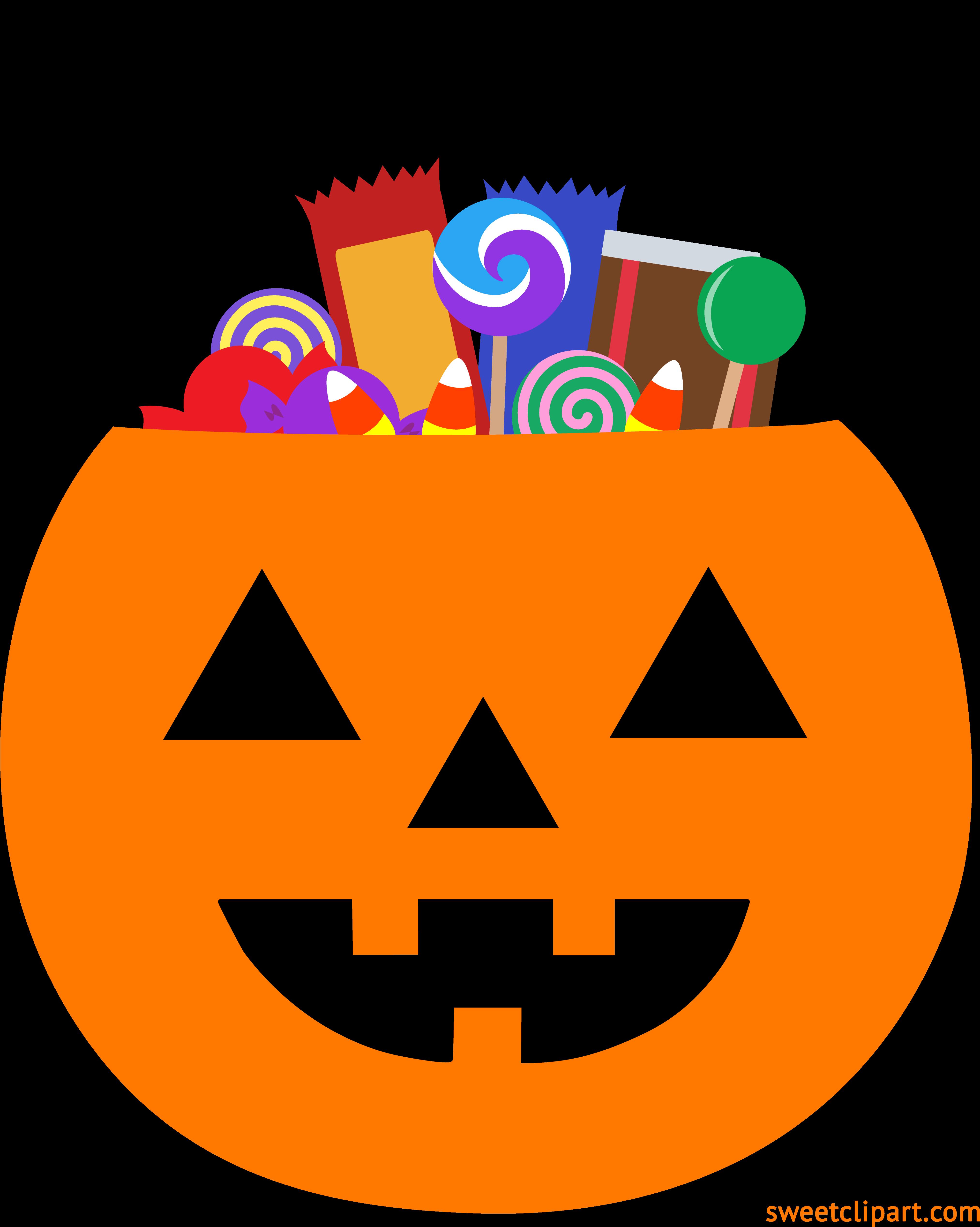 HD Halloween Pumpkin Pail With Candy Clipart.
