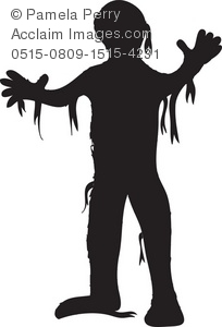 Halloween Clip Art Illustration of a Mummy Silhouette.