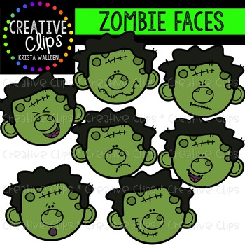 Zombie Faces: Halloween Clipart {Creative Clips Clipart}.