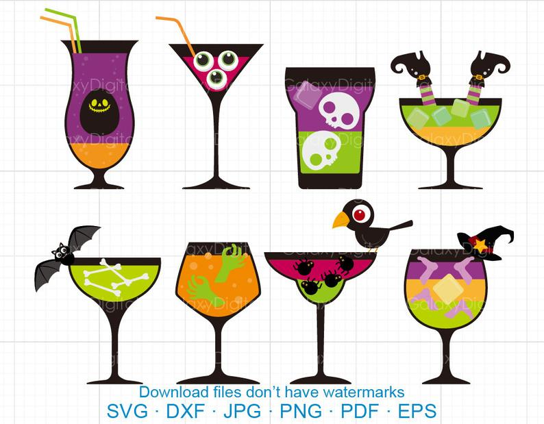 Halloween Cocktail Clipart SVG, Wine Clipart SVG DXF Silhouette Cricut Cut  Files Commercial use.