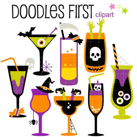 Halloween Cocktails Digital Clip Art for Scrapbooking Card Making.