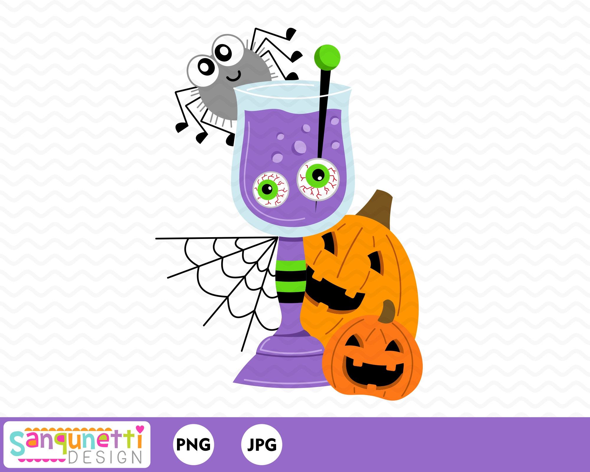 Halloween Cocktail Clipart, fall drink digital art instant download.