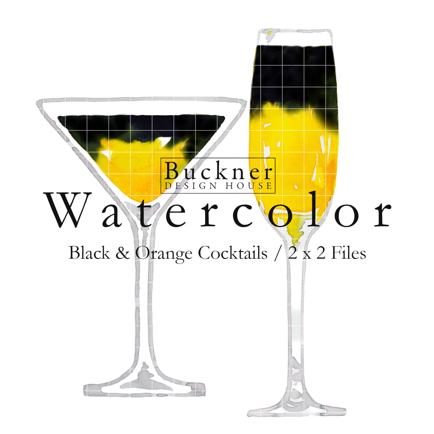 WATERCOLOR Halloween Cocktail Clipart.