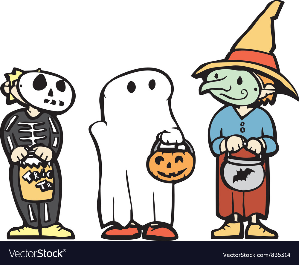 Kids in Halloween Costume.