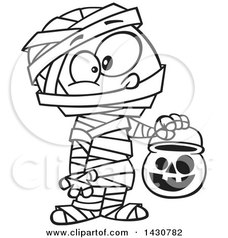 Clipart of a Cartoon Black and White Lineart Boy in a Mummy.