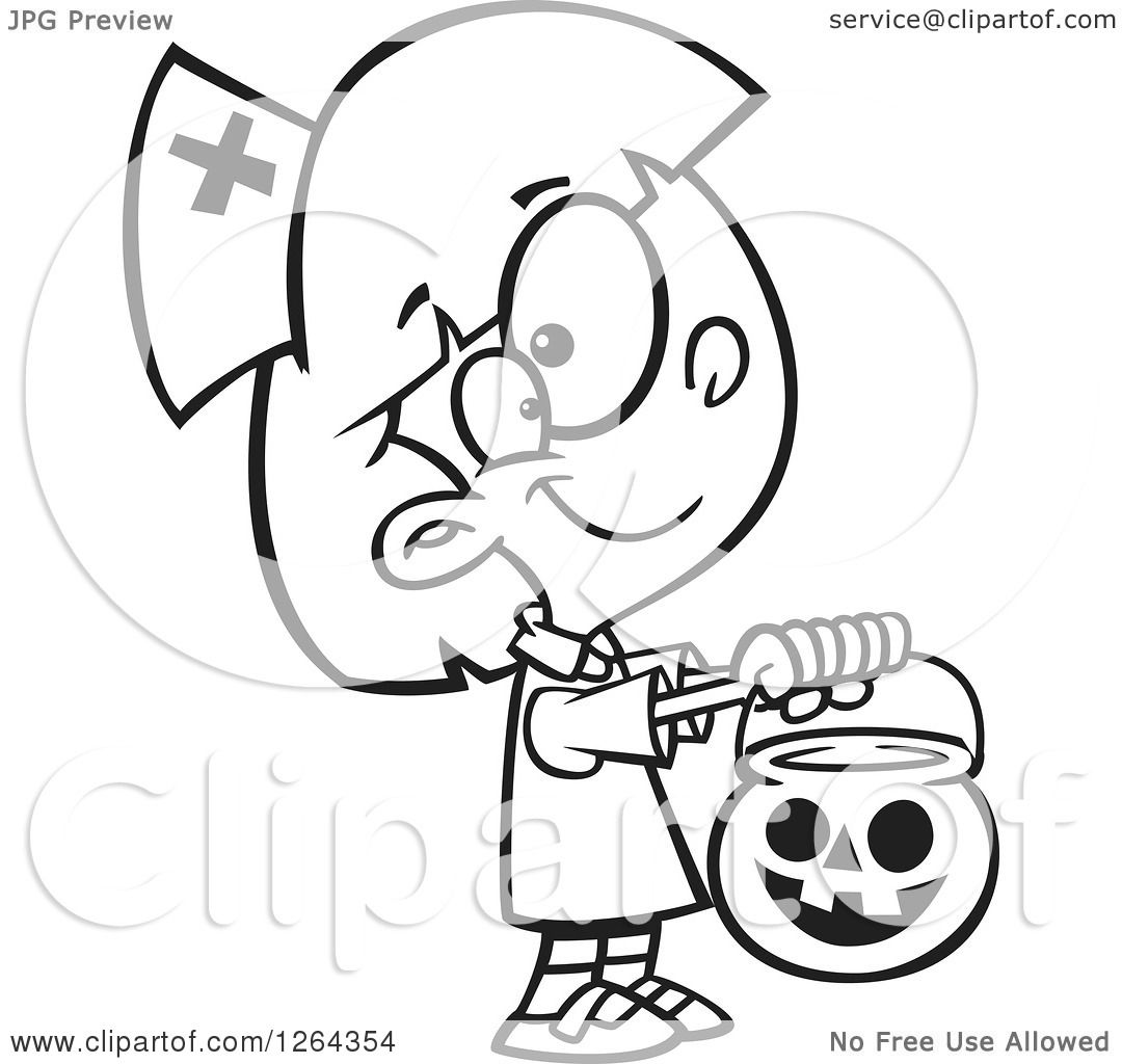 Clipart of a Black and White Cartoon Girl Trick or Treating in a.