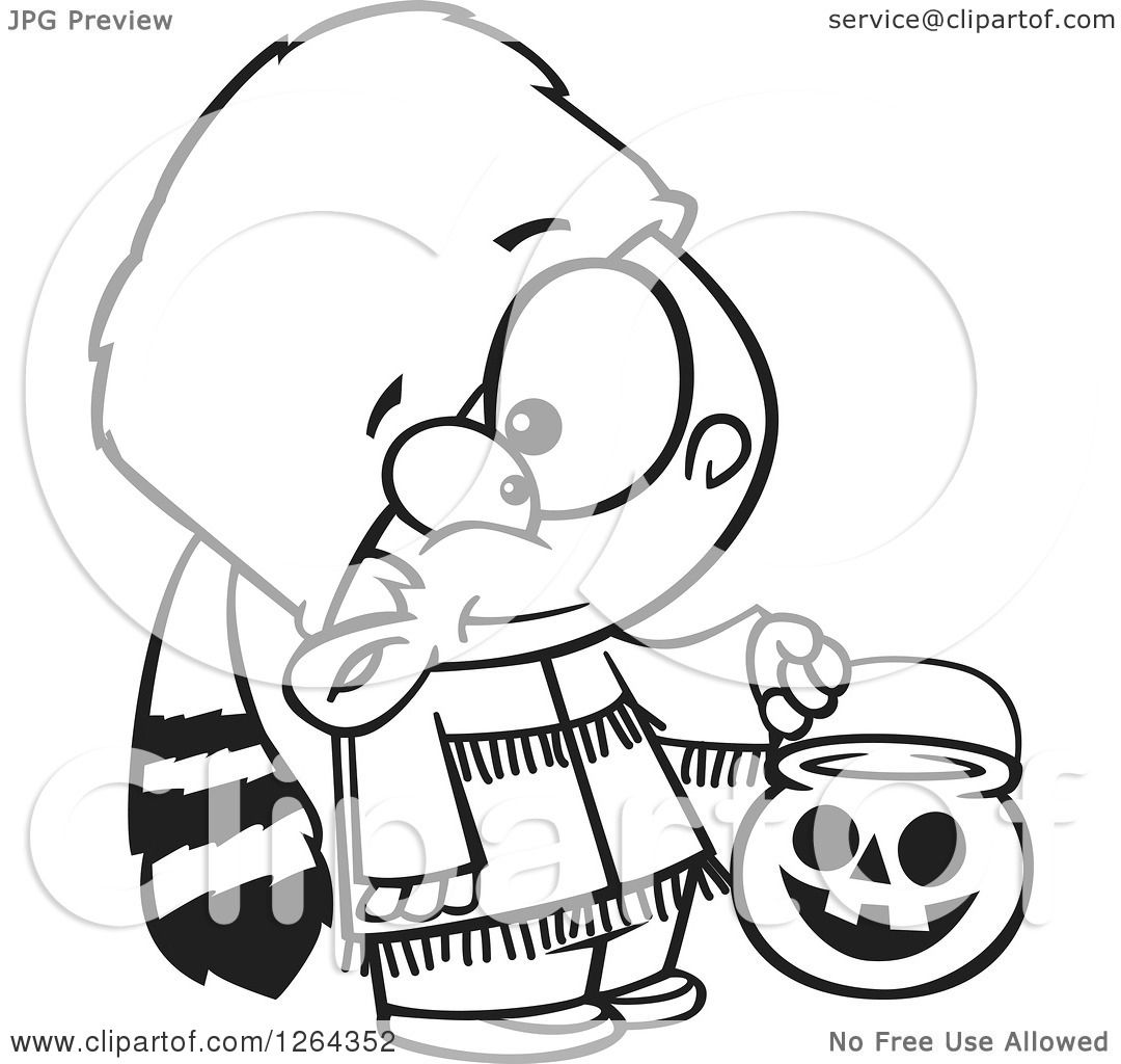 Clipart of a Black and White Cartoon Boy Trick or Treating in a.