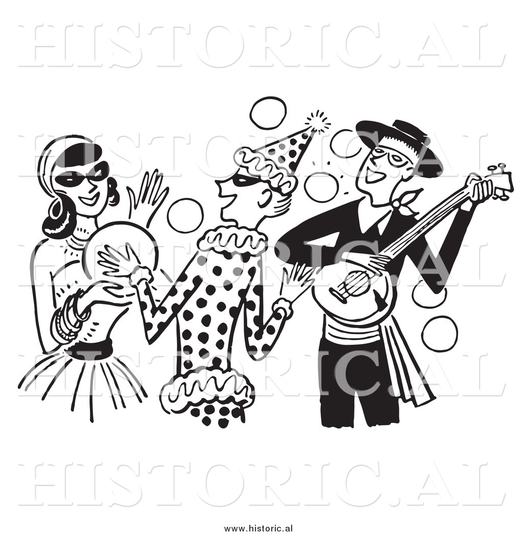 Clipart of People Having Fun at a Halloween Costume Party.