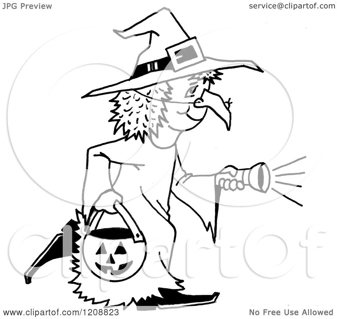 Cartoon of a Black and White Halloween Trick or Treater Girl in a.